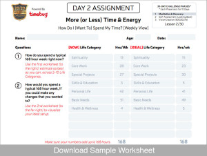 20/20 Life Vision Challenge Sample Worksheet