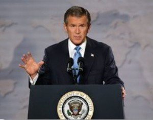 President George W. Bush at the Cincinnati Museum Terminal, October 7, 2002, claiming Iraq had WMDs and Saddam was in partnership with al Qaeda