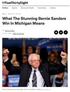 Hillary was ahead by 8 – 20 points (pick a poll). Then Bernie won MI. We can't trust polls – gotta vote.