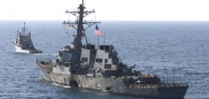 The USS Cole is towed into open sea on Oct. 29, 2000 Photo: DOD by Sgt. Don L. Maes, U.S. Marine Corps